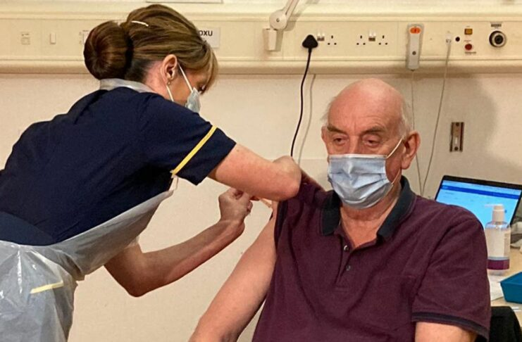 82-year-old Brian Pinker became the first person in the world to receive the new Oxford vaccine