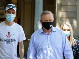 Anthony Albanese leaving hospital.