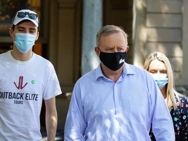 Anthony Albanese leaving hospital.